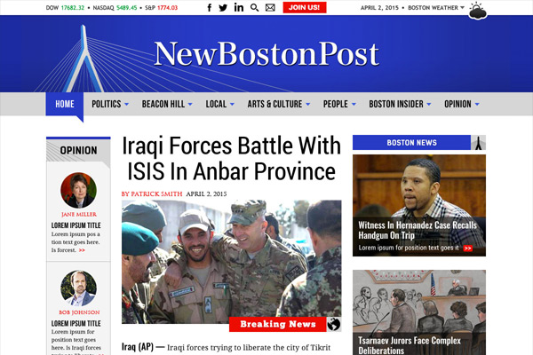 Website design and product branding for online newspaper, New Boston Post. Includes logo design and iconography for title/masthead, page design/layouts for both homepage and second level, and comping of navigation pulldown.