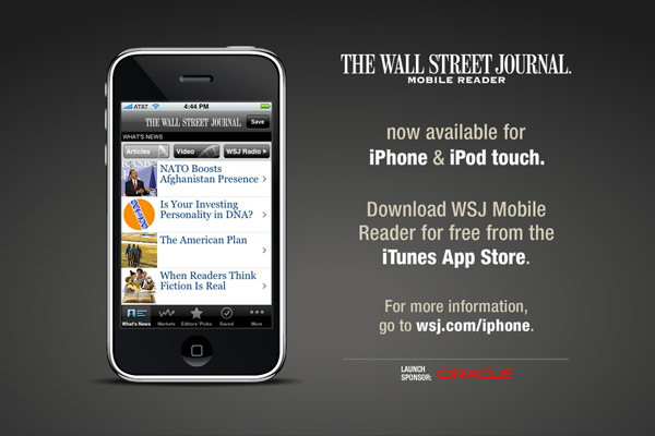 Design and development of Flash animation banner ads (assorted sizes) and widescreen attraction loop for The Wall Street Journal campaign promoting new iPhone app.