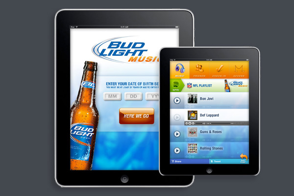 Design and development of proposed Budweiser app for tablet and smartphone. Includes interactive demo for combined music playlist/social media UI. Pitched to client for advertising agency.